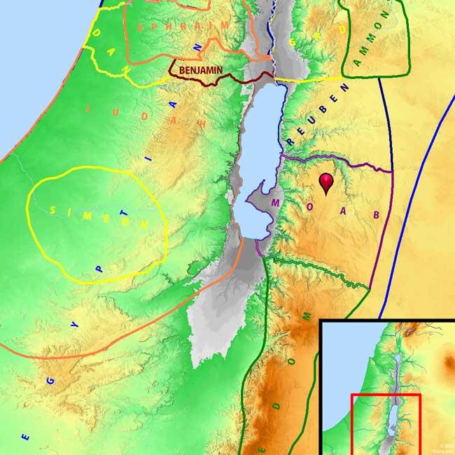 Mapa orográfico de Edom y Moab