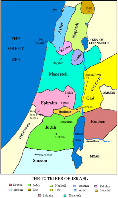 12 Tribes of Israel Land Map